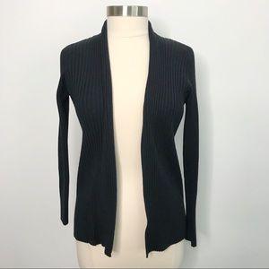 New York & Company Ribbed Cardigan Sweater Black M